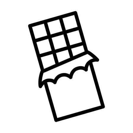 Chocolate bar with squares in wrapper line art vector icon for apps and websites