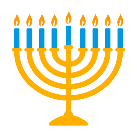 Hanukkah menorah candelabrum with nine lit candles flat vector color icon for holiday apps and websites Ilustracja