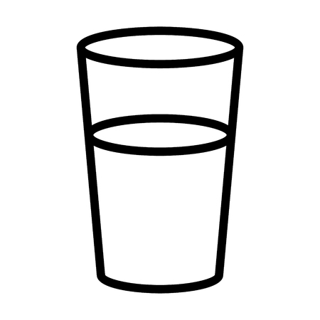 Glass of drinking water line art vector icon for food apps and websites Illustration
