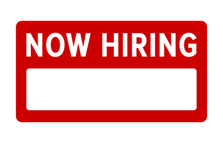 Red new hiring sign with fill in blank flat vector display
