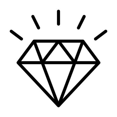 Piedra preciosa de diamante con icono de vector de arte de línea brillante para aplicaciones de joyería y sitios web