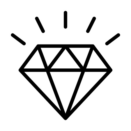 Diamond gemstone with sparkle line art vector icon for jewelry apps and websites Illustration