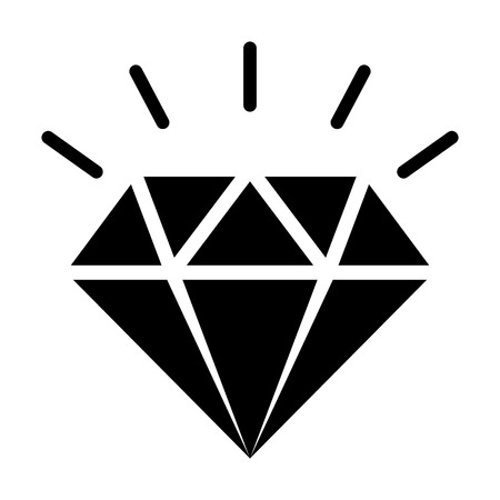 Diamond gemstone with sparkle flat vector icon for jewelry apps and websites Ilustração