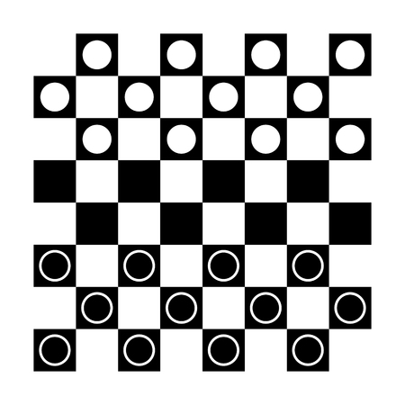Checkers, draughts or checker board with pieces flat vector icon for games and websites
