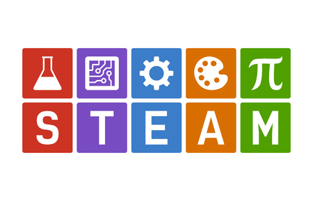 STEAM - science, technology, engineering, art and mathematics flat vector color icon for education apps and websites