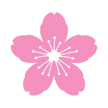 Cherry blossom flower or sakura flat vector pink icon for apps and websites