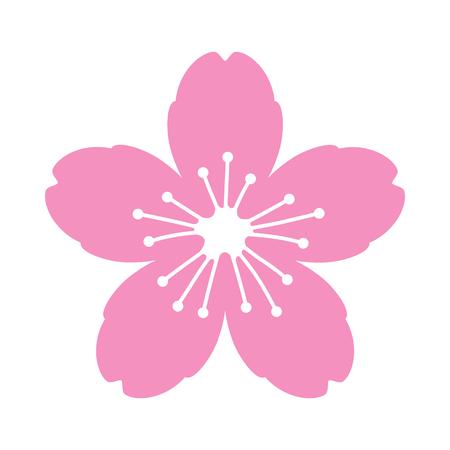 Kirschblütenblume oder Sakura-flaches Vektor-Rosa-Symbol für Apps und Websites Vektorgrafik