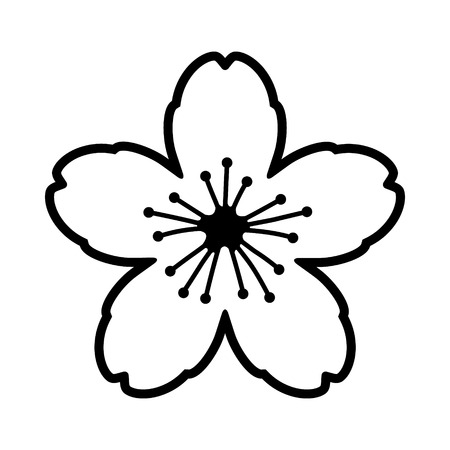 Cherry blossom flower or sakura line art vector icon for apps and websites Çizim