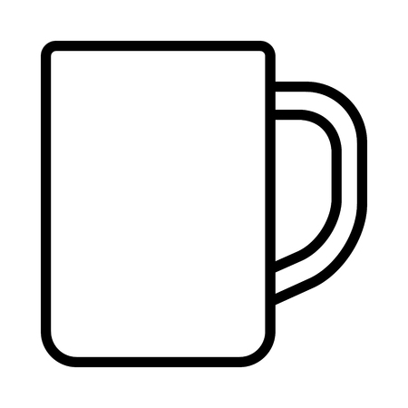 Cup or mug with handle for drinking line art vector icon for apps and websites