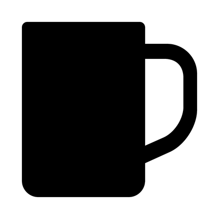 Cup or mug with handle for drinking flat vector icon for apps and websites Illustration