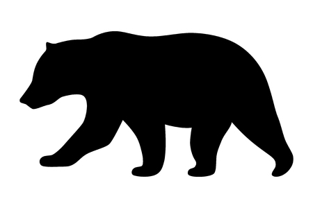 Grizzly bear or polar bear silhouette flat vector icon for animal wildlife apps and websites