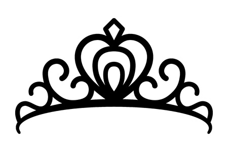 Princes tiara crown or royal diadem line art vector icon for apps and websites