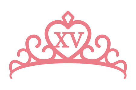 Quinceañera or quinceanera crown tiara with the number 15 inside line art vector icon Illustration