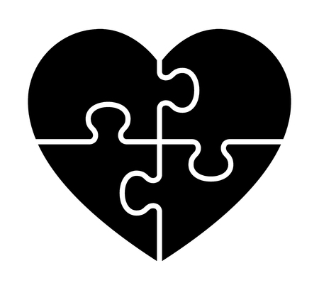 Heart puzzle with 4 pieces or solving love flat vector icon for apps and websites. 写真素材 - 126068889