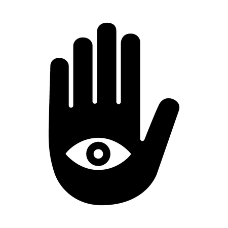 Fortune telling palmistry or palm reading with hand and eye flat vector icon for apps and websites