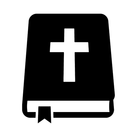 Bible holy book with cross and ribbon flat vector icon for apps and websites 일러스트