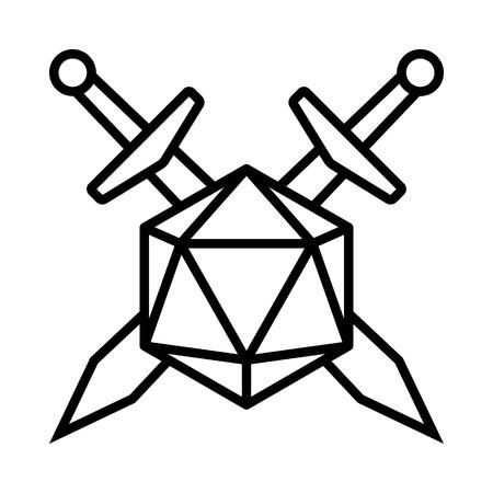 Espadas cruzadas con icono de vector de línea de dados de 20 lados / d20 o 20d para aplicaciones y sitios web