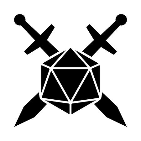 Espadas cruzadas con icono de vector plano de dados de 20 caras / d20 o 20d para aplicaciones y sitios web