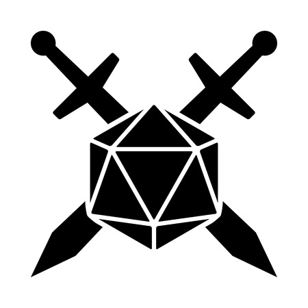 Swords crossed with 20 sided / d20 or 20d dice flat vector icon for apps and websites