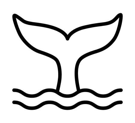 Whale tail or mermaid tail making waves line art vector icon for wildlife apps and websites Stock Illustratie