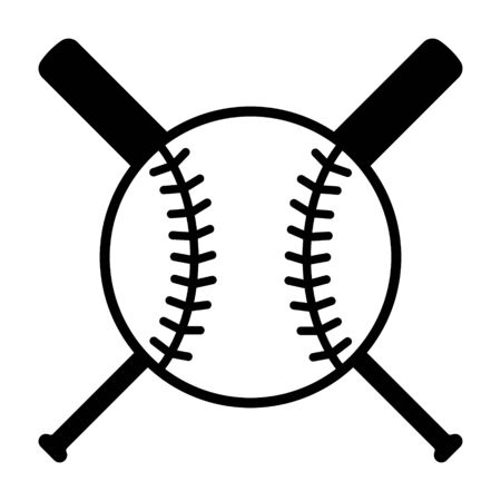 Baseball bats and ball or baseball tournament flat vector icon for sports apps and websites