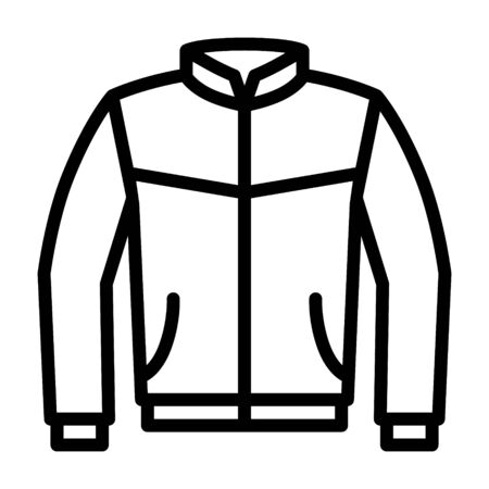 Leather bomber jacket or coat line art vector icon for fashion apps and websites