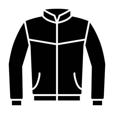 Leather bomber jacket or coat flat vector icon for fashion apps and websites Stock Illustratie