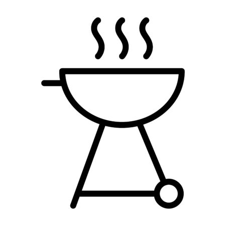 BBQ or barbecue grill line art vector icon for food apps and websites  イラスト・ベクター素材