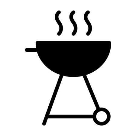 BBQ or barbecue grill flat vector icon for food apps and websites