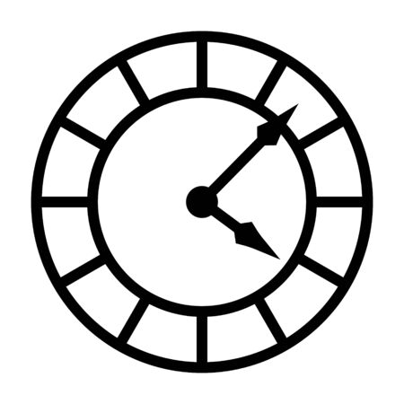 Old vintage clock face line art vector icon for apps and websites