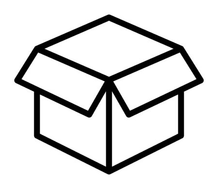 Empty open shipping box or unboxing line art vector icon for apps and websites