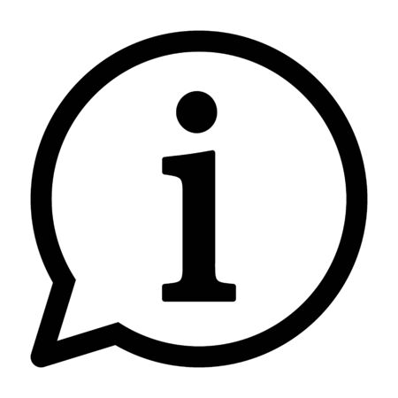 Information or info speech bubble line art vector icon for apps and websites