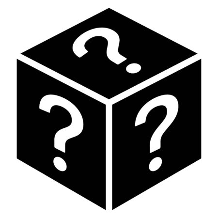 Mystery box or random loot box flat vector icon for games and apps Stock Illustratie