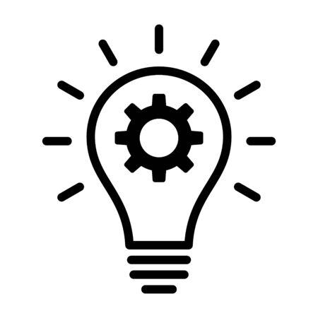 Żarówka z ikoną wektora sztuki linii pomysł innowacji dla aplikacji biznesowych i stron internetowych Ilustracje wektorowe