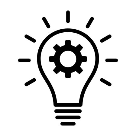 Lightbulb with idea innovation line art vector icon for business apps and websites