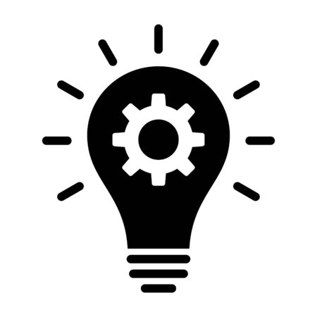Lightbulb with idea innovation flat vector icon for business apps and websites Ilustracja