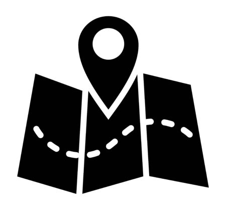 Trifold map with GPS location marker and dotted line flat vector icon for navigation apps and websites Stock Illustratie