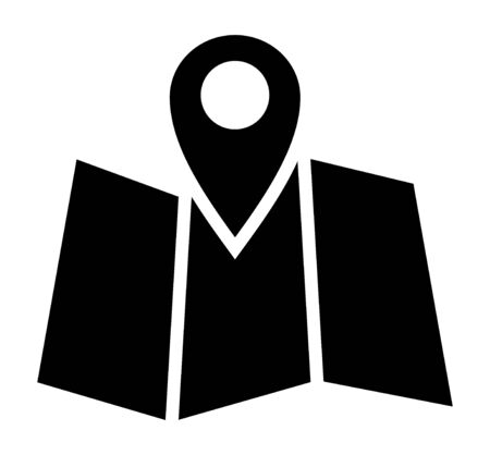 Trifold map with GPS location marker flat vector icon for navigation apps and websites
