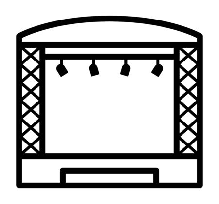 Theatrical musical concert stage with lights line art vector icon for music apps and websites Illustration