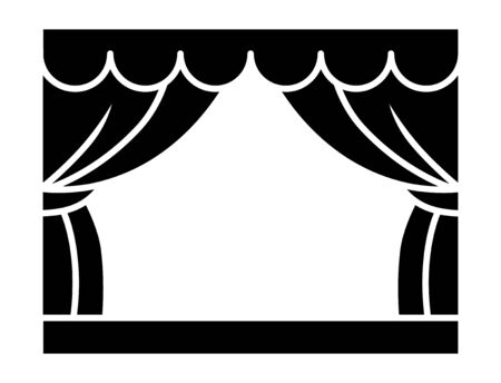 Classic theater stage with curtains or playhouse flat vector icon for apps and websites Çizim