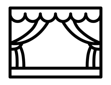 Classic theater stage with curtains or playhouse line art vector icon for apps and websites
