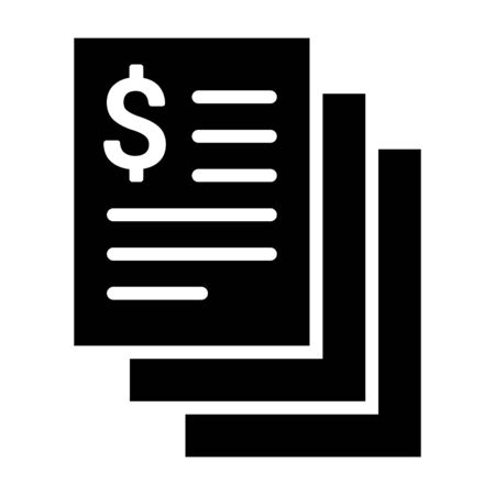 Stack of bills, statements or invoices flat vector icon for financial apps and websites