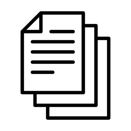 Bunch of notes or stack of documents line art vector icon for apps and websites Stock Illustratie