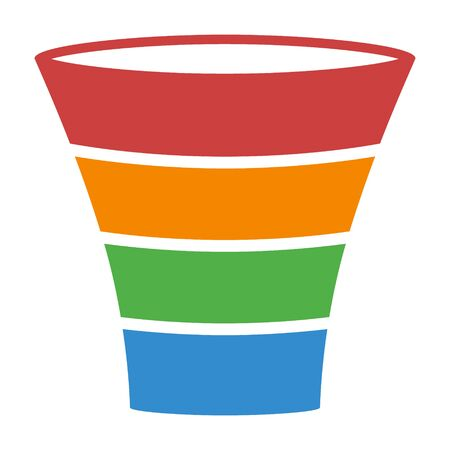 Icono de vector plano de diagrama colorido proceso de embudo de plomo de ventas para aplicaciones de negocios y sitios web