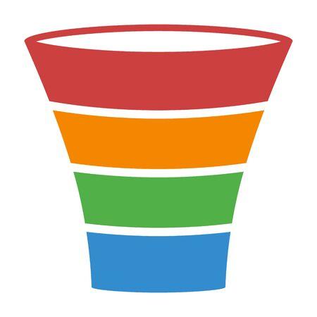 Verkoop lead trechter proces kleurrijke diagram platte vector pictogram voor zakelijke apps en websites