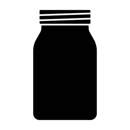 Mason jar glass container flat vector icon for food apps and websites Banco de Imagens - 131609627