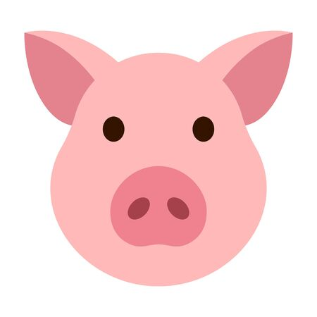 Pig head  face or pork bacon flat vector color icon for animal apps and websites