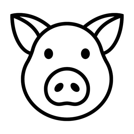 Pig head  face or pork bacon line art vector icon for animal apps and websites
