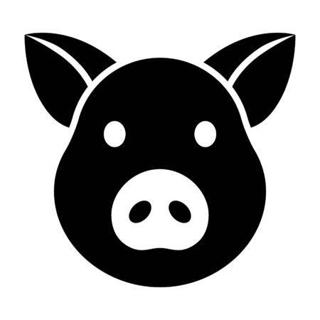 Pig head  face or pork bacon flat vector icon for animal apps and websites