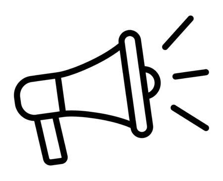 Mégaphone électrique avec son ou icône de vecteur d'art de ligne publicitaire marketing pour les applications et les sites Web